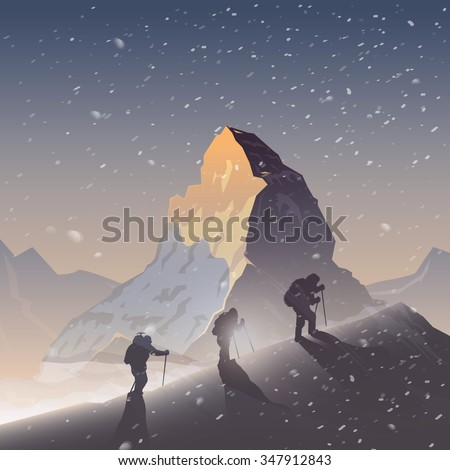 Vector background on the theme of Climbing, Trekking, Hiking, Mountaineering. Extreme sports, outdoor recreation, adventure in the mountains, vacation. Achievement. The Matterhorn. Double exposure.  - stock vector