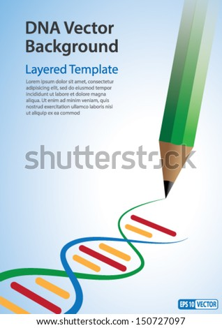 Vector Background - Pencil drawing DNA Strands. Creative Concept for showing Biotechnology,Innovation, Invention, Bio-Science, Clone and many other ideas. - stock vector