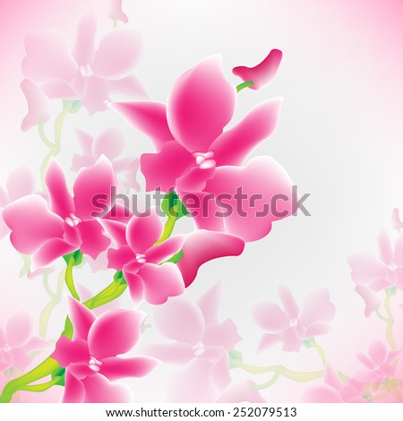VECTOR Background: Pink Orchids with pink and white background perfect for cards - invitation/greetings - stock vector