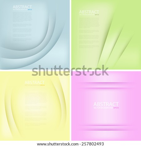 Vector background set colorful vintage color blue green yellow and pink curve line overlap paper layer with space for text and message modern artwork design - stock vector