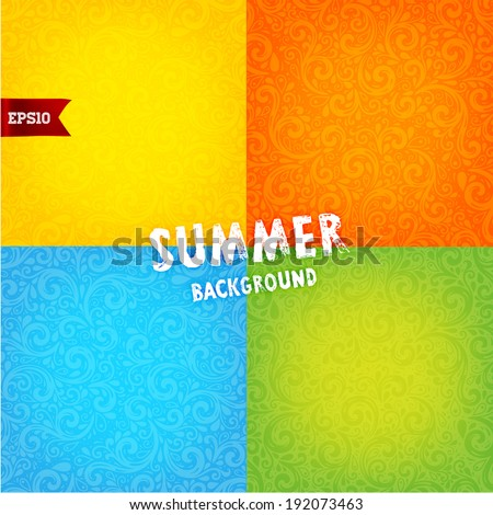 Vector Background. Set of Floral Pattern, Wallpaper with Flowers. Vintage Background. Summer Orange, Yellow, Blue and Green Designs - stock vector