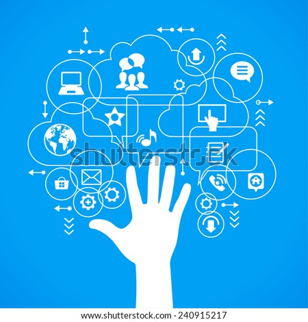 Vector background. Social media concept. Communication in the global computer networks. Set of flat design concept icons for web and mobile services. Human hand, and symbols in the form of a tree. - stock vector