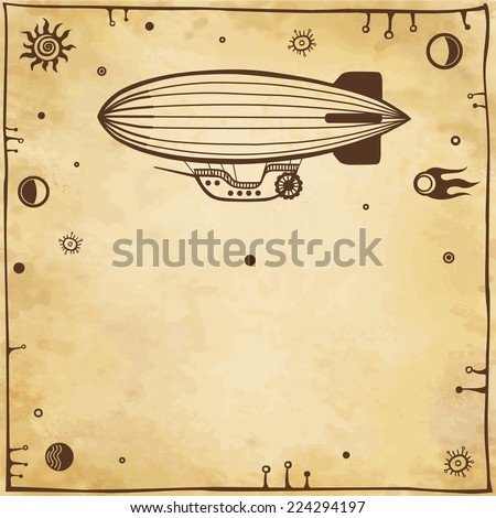 Vector background: stylized airship with a place for the text. Imitation of old paper. - stock vector