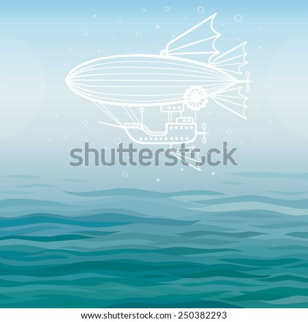 Vector background: stylized fantastic airship on a sea background. - stock vector
