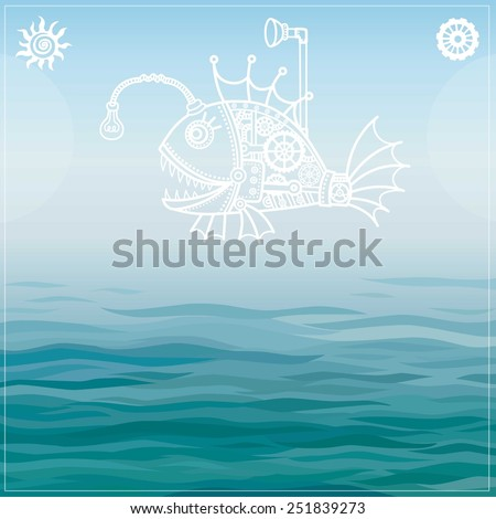 Vector background: stylized mechanical fish on a sea background. - stock vector