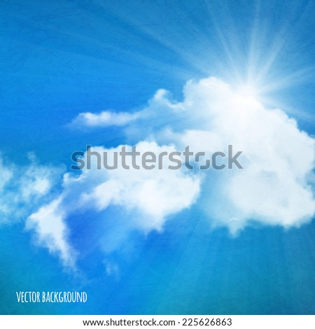 Vector background, sun over clouds - stock vector