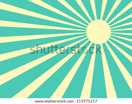 Vector background sun rays with white and green retro color - stock vector