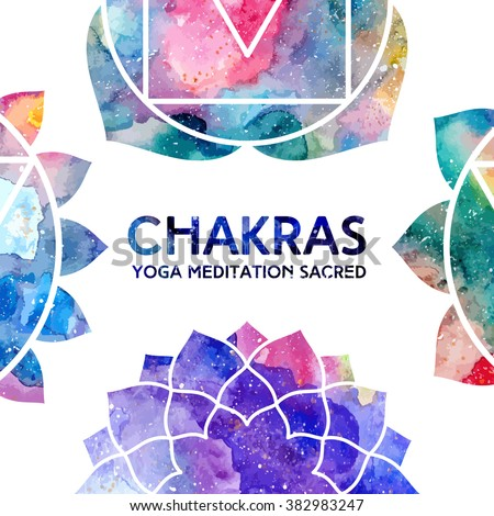Vector background. Watercolor chakras on white background, colorful frame, bright texture. Perfect for yoga, spa, meditation practice, ayurveda invitations, greetings - stock vector