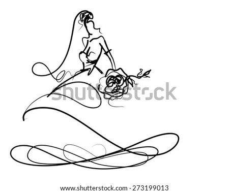 VECTOR BACKGROUND WITH A BEAUTIFUL BRIDE IN A WEDDING DRESS  - stock vector