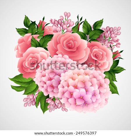 Vector background with a beautiful flower  - stock vector