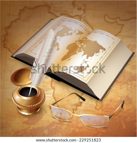 Vector background with a book, glasses and inkwell with a pen - stock vector