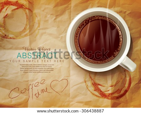 vector background with a cup of coffee and coffee stains on old paper - stock vector