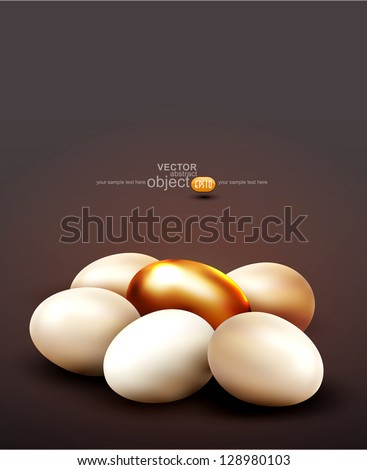 vector background with a golden egg surrounded by normal eggs - stock vector