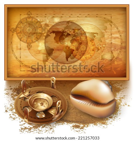 Vector background with a map, sextant and seashell - stock vector