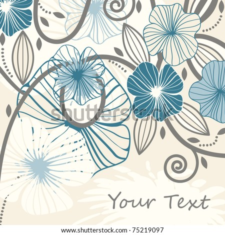 vector background with abstract flowers and blots, space for your text, eps8 - stock vector