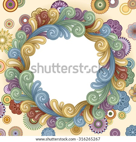 Vector background with abstract flowers and swirls. EPS 8 - stock vector