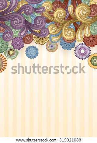 Vector background with abstract flowers and swirls. EPS 10,  contains transparency. - stock vector