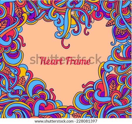 Vector background with abstract Heart frame curls. Modern pattern. Vector backdrop. Bright pattern.Use for wallpaper,pattern fills, web page background  - stock vector