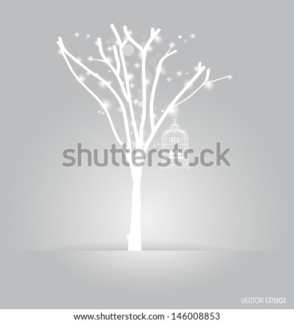 Vector background with abstract tree and vintage birdcages. Vector Illustration. - stock vector