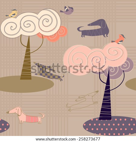 vector background with birds and dogs - stock vector