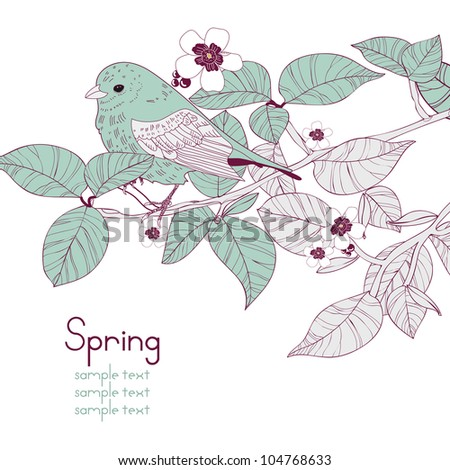 Vector background with blue bird and branch with leafs - stock vector