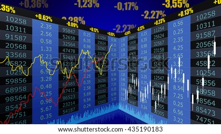 Vector background with business, financial data and diagrams. Stock exchange chart graph - stock vector