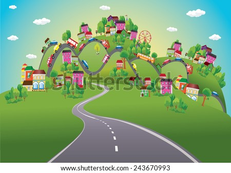 Vector background with cars on the road - stock vector