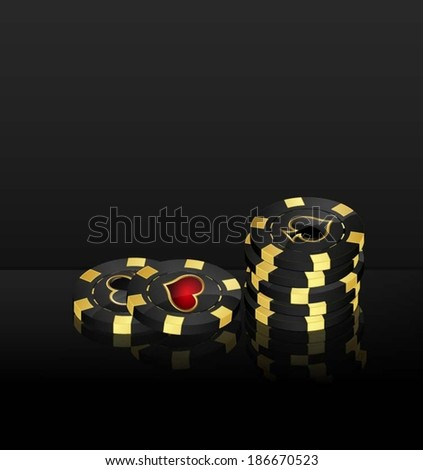 Vector background with casino chips design elements - stock vector