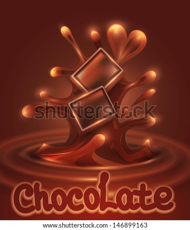 Vector background with chocolate pieces falling into melted chocolate - stock vector