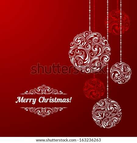 Vector background with christmas decoration for your design. Vintage ornamental balls. Happy New Year greeting card - stock vector