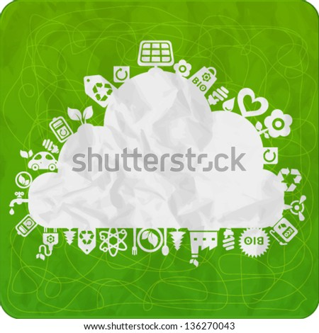 Vector background with cloud shape and ecology icons with crumpled paper texture - stock vector