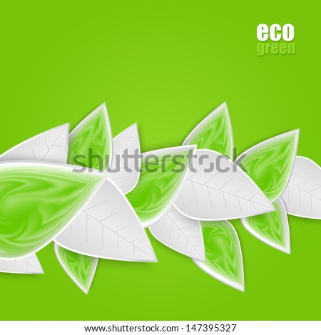 Vector background with  composition of green leaves.  - stock vector