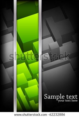 Vector background with cubes. Green color - stock vector