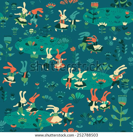 vector background with dancing rabbits - stock vector