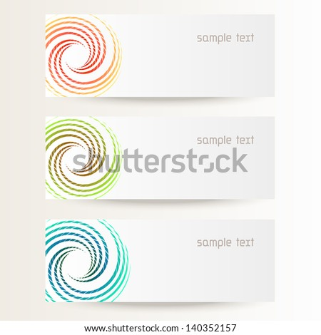 Vector background with design element in shape of circle .Brochure template with text box. Set of abstract cards with concept of movement. Banners with  stylized wave of geometric forms for print, web - stock vector