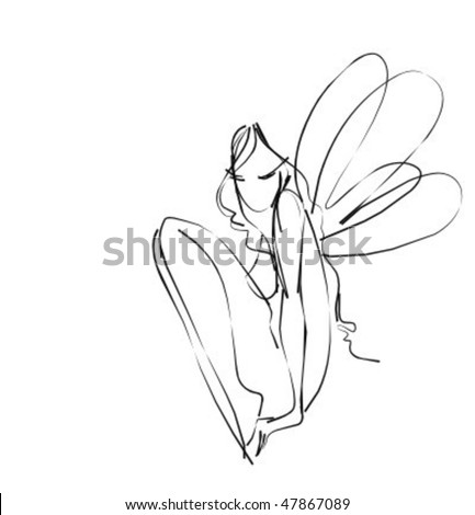 VECTOR  Background with drawing the beautiful nude fairy - stock vector