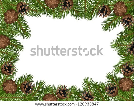 Vector background with fir tree branches and cones. - stock vector