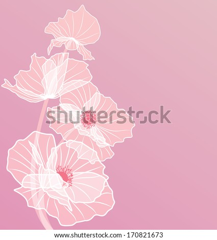 vector background with flowers of poppies in pink colors (EPS 10) - stock vector