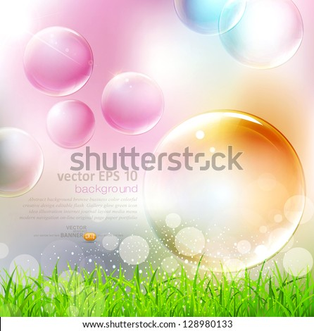 vector background with flying colorful bubbles - stock vector