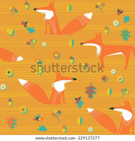 vector  background with foxes - stock vector