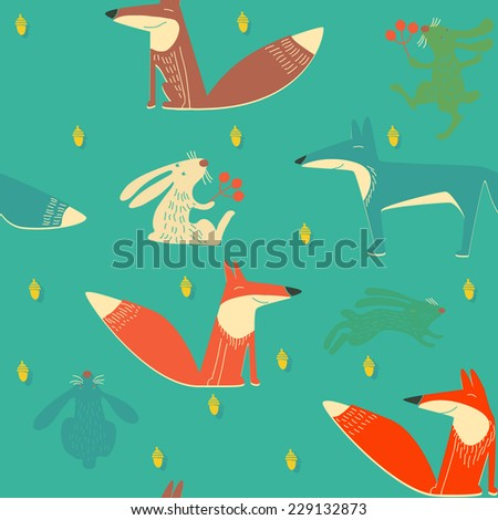 vector background with foxes and hare  - stock vector