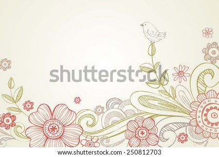 Vector background with garland of flowers, leaves. Stylized garden with branches of blooming tree - stock vector