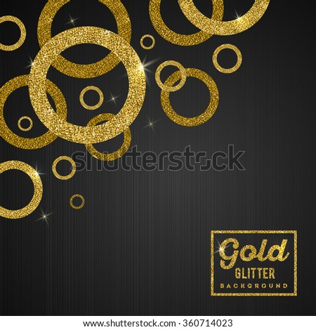 Vector background with glitter golden rings - stock vector