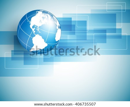 vector background with globe, geometric elements  and copy space. Eps10 - stock vector