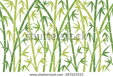 vector background with green bamboo stems (seamless bamboo background, bamboo vector illustration, silhouette of bamboo trees background) - stock vector