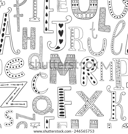Vector background with hand drawn alphabet, seamless pattern on white background - stock vector
