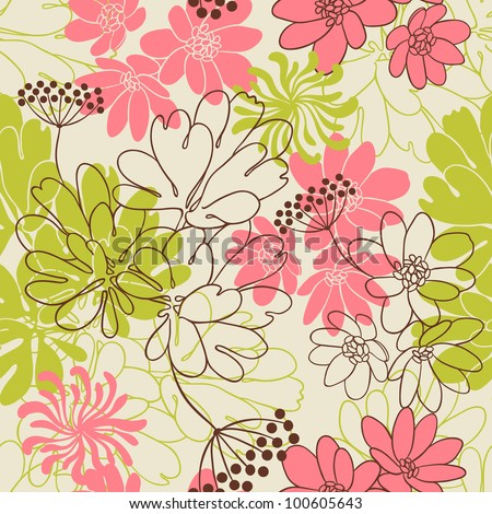 Vector background with hand drawn flowers. (Seamless Pattern) - stock vector