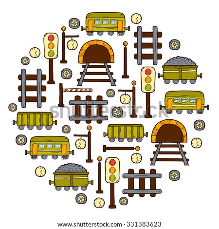 Vector background with hand drawn railroad objects: wagons, semaphore, railway station clock, locomotive, barrier, tunnel. Transport shipping delivery or travel concept for your design - stock vector