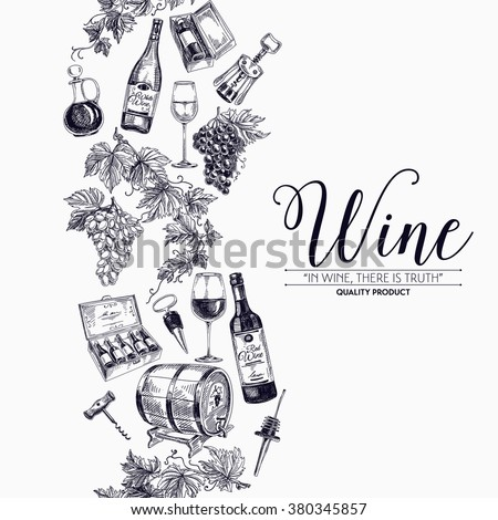 Vector background with hand drawn wine bottle, wine cask and wineglass. Winery illustration. Template design. Border. Repeating background. - stock vector
