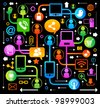 vector background with icons on internet. social network, communication in the global computer networks - stock vector